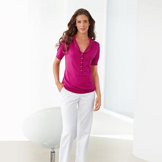 Der formschöne Kragen verleiht dem Polo den feminin Look und unterstreicht Ihr schönes Dekolletee.