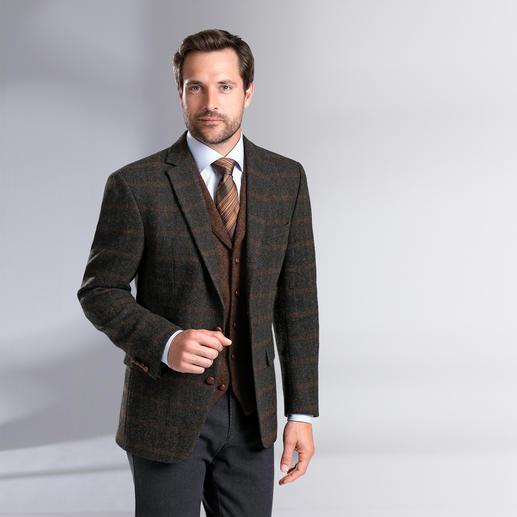 Carl Gross Harris Tweed-Sakko oder -Weste, Rostbraun Original Harris Tweed von den Äusseren Hebriden – aber viel feiner und       leichter als üblich. Von Carl Gross.
