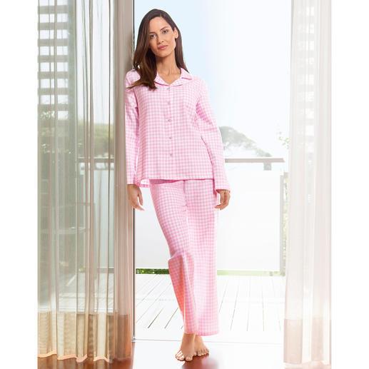 NOVILA Flanell-Pyjama Vichykaro Für den ersten guten Eindruck am Morgen. Aus weichem Baumwoll-Flanell. In femininem rosa/weissem Vichy-Karo.