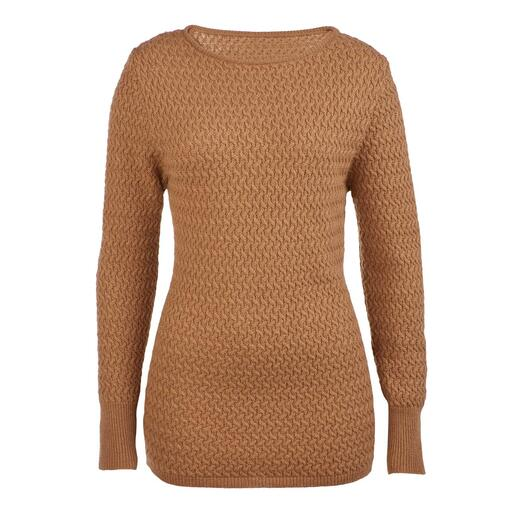 Der Pullover aus 100 % Kamelhaar - eine luxuriöse Rarität. Gesponnen in England. Gestrickt in Europa.