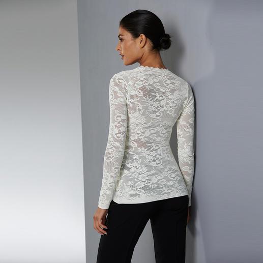 Allover-Spitzen-Shirt, Cremeweiss