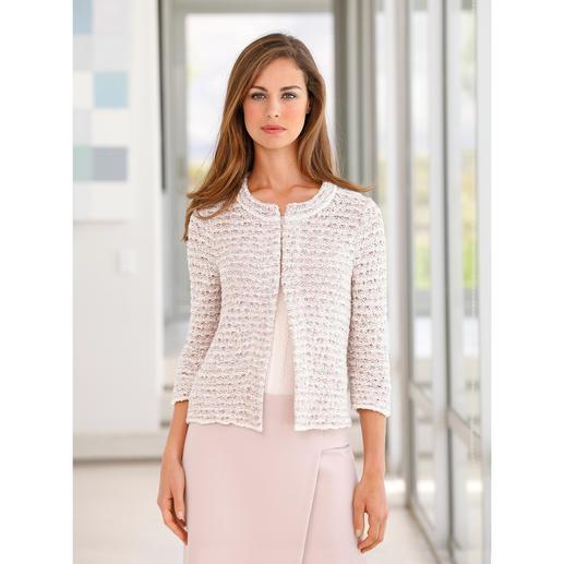 ANNECLAIRE Bouclé-Cardigan - So bequem und sommertauglich kann eine elegante Bouclé-Jacke sein. Gestrickt aus luftiger Baumwoll-Mischung.