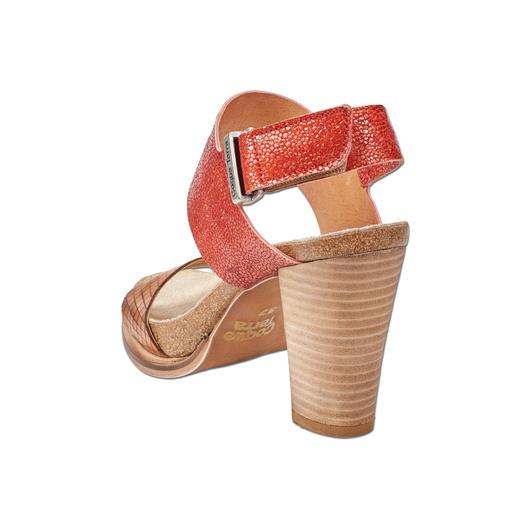 Coque Terra Fussbett-Sandalette Die Blockabsatz-Sandalette made in Portugal. Von Coque Terra. Herrlich bequem dank Kork-Latex-Fussbett.
