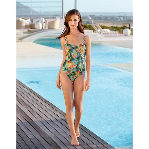 SunSelect®-Badeanzug Hibiskus Aus Sonnen durchlässigem SunSelect® – mit aussergewöhnlichem Palmen/Hibiskus-Print.