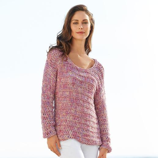 Kero Design Bändchengarn-Pullover - Von Hand gefärbt und gestrickt: seltenes Bändchengarn aus Baby-Alpaka- und Merinowolle. Hergestellt in Peru.