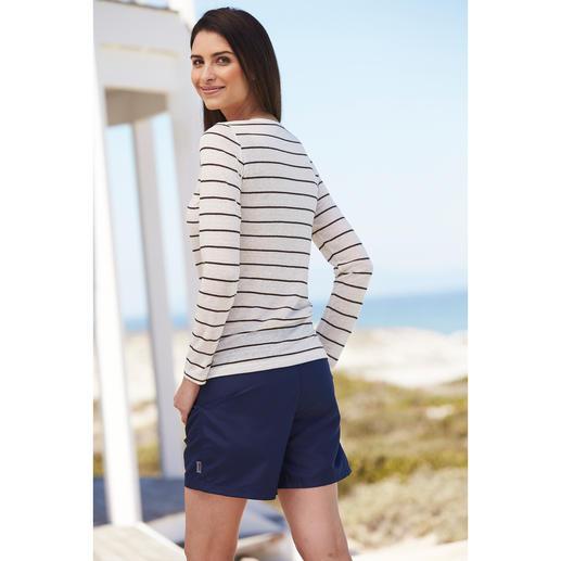 Knitted linen Streifen-Langarm- oder T-Shirt Aussergewöhnlich gut: ein Shirt aus gestricktem Leinen. Angenehm kühl und trocken an heissen Tagen.