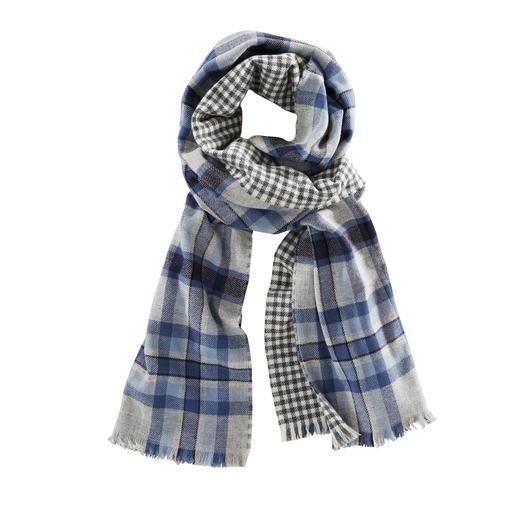 Johnstons Doubleface-Karo-Schal, blau/grau - Ein edler Doubleface-Schal. Zwei klassische Muster. Von Johnstons of Elgin/Schottland, Tradition seit 1797.