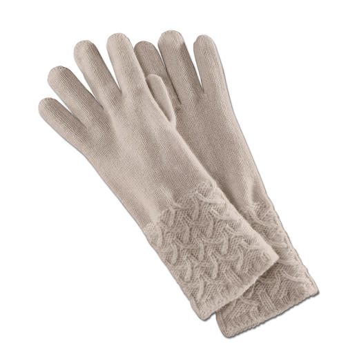 Johnstons Kaschmir-Handschuhe Plastisch gemustert statt langweilig glatt. Vom Spezialisten Johnstons of Elgin/Schottland.