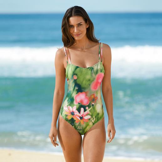 SunSelect®-Badeanzug Blumen-Aquarell Aus sonnendurchlässigem SunSelect® – mit aussergewöhnlichen Blumen-Aquarellen.