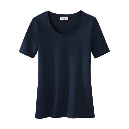 Kurzarm- oder Langarm-Basic-Shirt swiss+cotton Warum ein Basic-Shirt für 55.95 Franken ein Schnäppchen sein kann. swiss+cotton ist form- und farbtreu, geschmeidig glatt und dehnbequem.