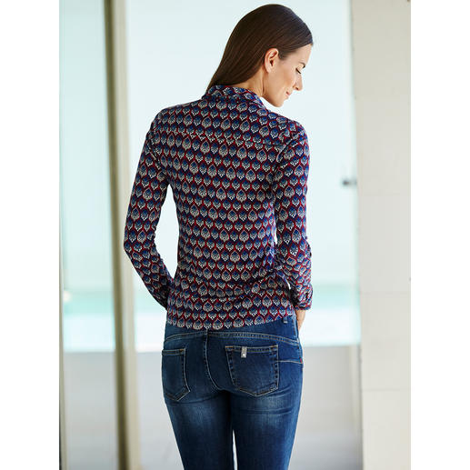 KD-Klaus Dilkrath Jersey-Bluse Elegant wie eine Bluse. Bequem wie ein Shirt. Die Hemdbluse aus seidigem Viskose-Jersey.