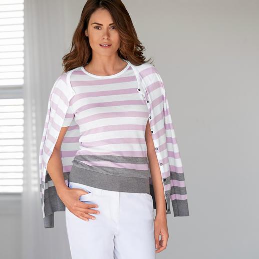 Smedley Blockstreifen-Twinset, rosa/grau Purer Luxus aus wertvoller Sea Island-Baumwolle. Das Feinstrick-Twinset von John Smedley/England.