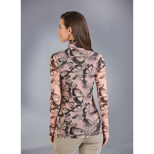 Fuzzi Rolli Schmetterlinge Ultraleicht. Unkompliziert. Und elegant wie eine Bluse. Der 110 g leichte Rolli aus hauchzartem Tüll-Jersey.