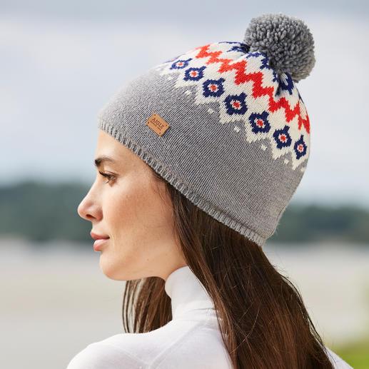 Aigle Strickfleece-Norweger-Mütze oder -Fäustling Modisches Norweger-Muster – endlich vollkommen kratzfrei.