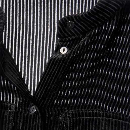 Cacharel Samt-Bluse Selten ist eine schwarze Bluse so elegant und gleichzeitig so ungewöhnlich.
