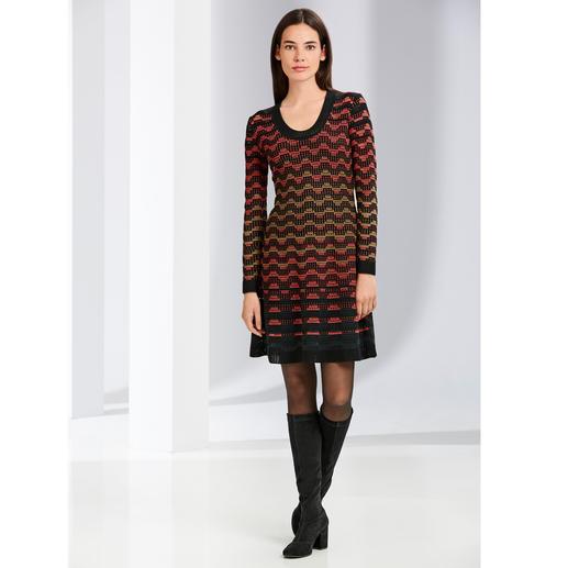M Missoni Wellenstrick-Kleid, schwarz-orange M Missonis Wellenstrick-Klassiker in den aktuellen Trendfarben.