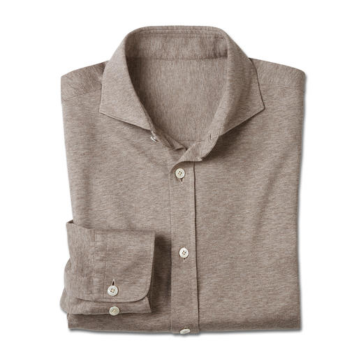 Dorani Jersey-Hemd Korrekt wie ein Hemd. Doch bequem wie ein T-Shirt. Weicher Baumwoll-Jersey, gewebt von Tessilmaglia/Italien.