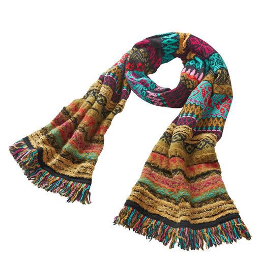 IVKO Jacquard-Schal Prächtige Farben, lebendige Muster: rar gewordene Strickkunst aus Serbien.