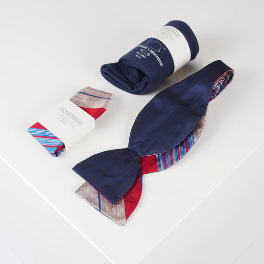 Gentleman`s Agreement Accessoires-Box Die vielseitige Kombination aus Schleife, Socken und Einstecktuch. Von Gentleman`s Agreement.