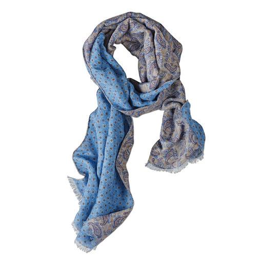 Der herrlich leichte, vielseitige Sommer-Schal. Von Pellens & Loick, seit 1870. Luftig dank Leinen mit Baumwolle. Kombifreudig durch kunstvollen Double-Print.