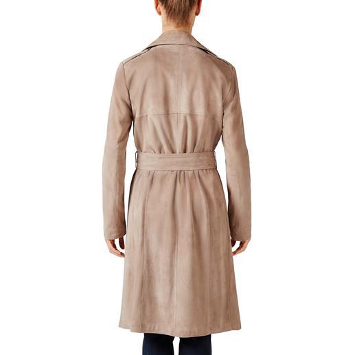 Arma Ziegenvelours-Trenchcoat Aussergewöhnlich edel: Mode-Evergreen und Style-Allrounder Trenchcoat aus feinstem, ungefüttertem Ziegenvelours-Leder.