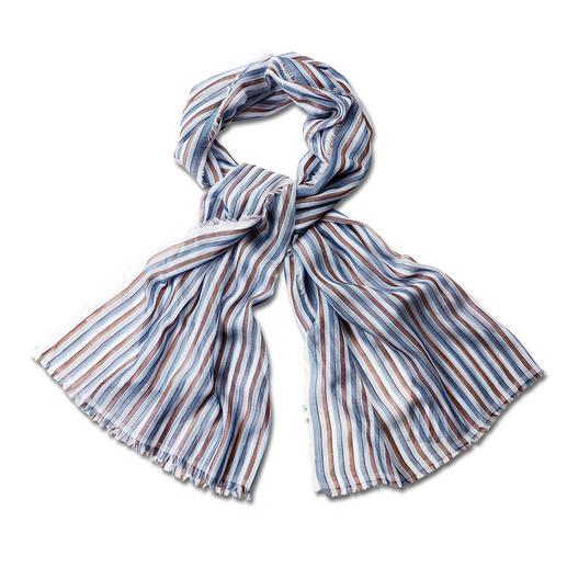 alpi 50-Gramm-Streifenschal Ihr vielseitigster Streifenschal kommt vom Traditions-Krawattier. Hauchzartes italienisches Gewebe. Edler Schimmer.