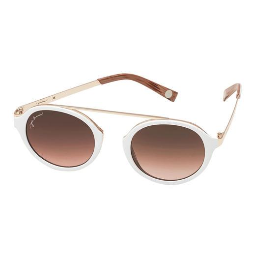 Cool-white-Sonnenbrille Die elegante Sonnenbrille zum Weiss-Trend. Angesagt runde Gläser. Retro-Form ohne Nasensteg. Erschwinglicher Preis.