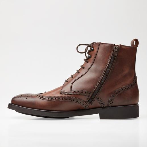 Lottusse Brogue-Boots Die eleganten Business-Boots für Regentage. Gewachstes Leder. Durchgenähte, gummierte Sohle. Hoher Schaft.