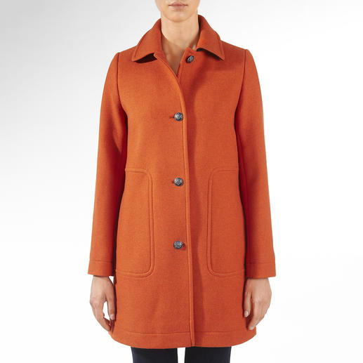 Saint James Caban-Mantel Trend Wollmantel. Modefarbe Orange. Und doch Potential zum Klassiker.