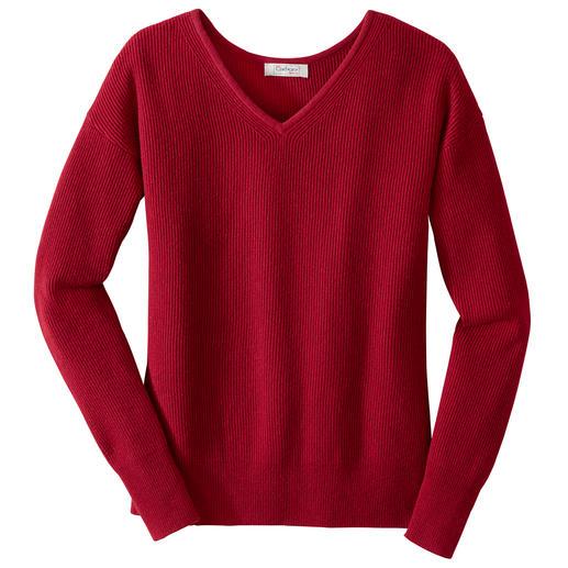 Carbery Rippen-V-Pullover oder -Strickrock Trendgerechter Allover-Strick, traditionell made in Ireland.