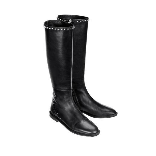 MA&LÒ Nieten-Stiefel Schmaler, spitzer Leisten. Poliertes schwarzes Nappaleder. Dezente Verzierung. Made in Italy, von MA&LÒ.