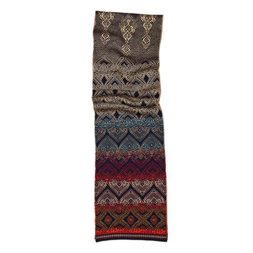 Ivko Jacquard-Strickkleid, Turban, Stulpen oder Schal Jacquard-Strickkleid, Turban, Schal und Ärmelstulpen in aussergewöhnlicher Farb- und Muster-Vielfalt.