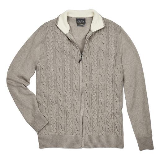 Maselli Zopfstrick- Zipp-Jacke Die elegante Ausnahme unter den vielen rustikalen Zopfstrickjacken. Made in Italy von Maselli.