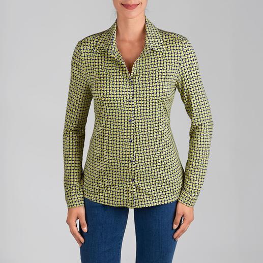 KD-Klaus Dilkrath Jersey-Bluse, gelb-blau Die Hemdbluse aus seidigem Viskose-Jersey: Elegant wie eine Bluse. Bequem wie ein Shirt.