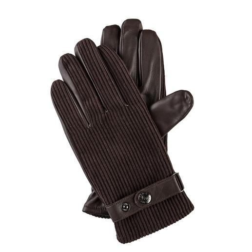Dents Cord-Handschuhe Cord: jetzt modisch wieder wichtig. Spitzenqualität bei Handschuhen: bei Dents unverändert seit 1777.