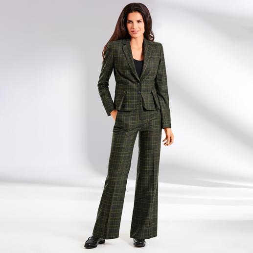 Benbarton Karo-Anzug-Blazer oder -Marlenehose Hosenanzug. Karomuster. Marlenehose: 3 Klassiker ergeben das Mode-Highlight von heute. Design: BENBARTON New York