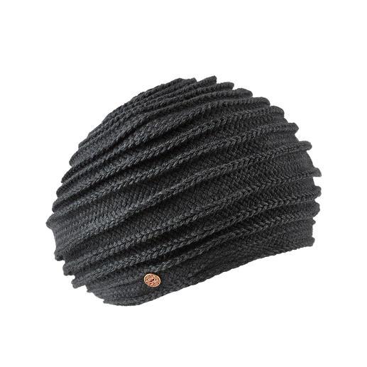 Mayser Borten-Baskenmütze Die aussergewöhnliche unter den modischen Baskenmützen: Bortengenähter Strick mit markanter Rippe.