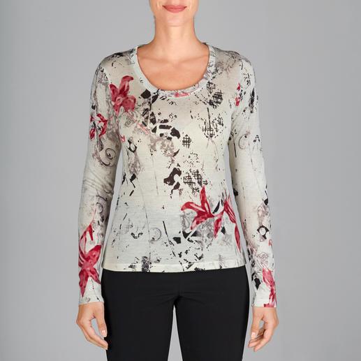 Pashma 30-Gauge-Blütenpullover So luxuriös (und dennoch bezahlbar) sind die wenigsten modischen Print-Pullover. Von Pashma, Indien.