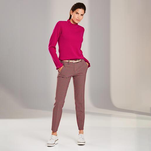 Mustermix-Rüschenpullover Der modische Pullover für weit mehr als eine Saison: Rüschen, Mustermix, leuchtende Colour-Pops.