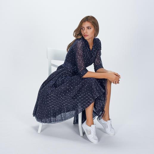 Samantha Sung Tupfen-Kleid Eleganter Retro-Stil der 40er- und 50er-Jahre. Leichter Baumwoll-Musselin mit modisch unvergänglichem Tupfen-Dessin.