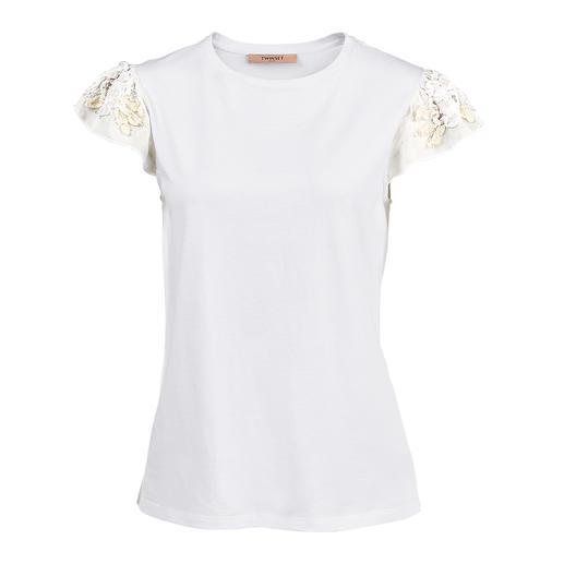 TWINSET Blüten-Basic Shirt oder Top Nicht einfach nur weisse Basics – selten feminin mit Blütenmotiven dekoriert. Von TWINSET