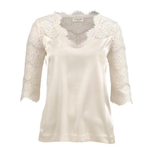 Das Spitzen-Shirt von Rosemunde Copenhagen - schick wie eine Bluse, komfortabel wie ein T-Shirt. Seidig, weich fliessend, knitterarm und bügelleicht.