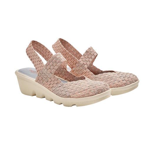 """Der Fashion-Hit aus den USA: Flecht-Sling-Wedges vom """"Master of woven Footwear"""", bernie mev. New York. Bequemer, leichter und luftiger können modische Sommer-Schuhe kaum sein."""