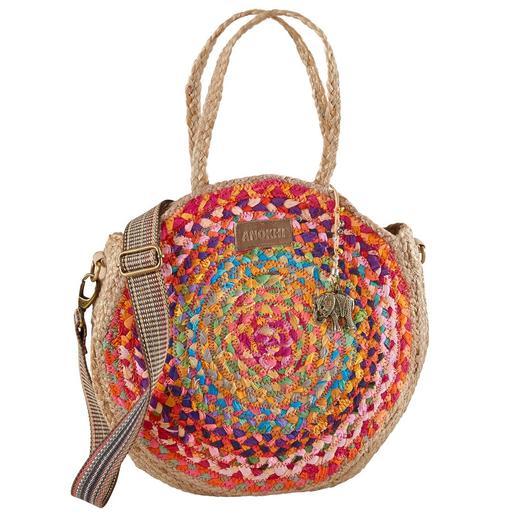 Anokhi Jute-Shopper Modische Allianz aus runder Jute-Bag und auffälligem Taschengurt.