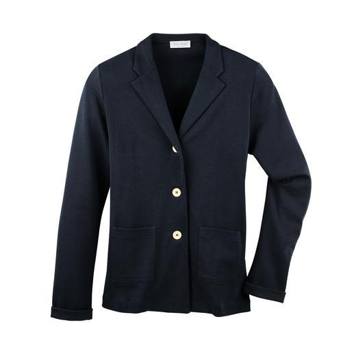 T-Shirt-Blazer Korrekt wie ein Blazer. Leicht und luftig wie ein T-Shirt. Aus feinem, italienischem Baumwoll-Jersey.