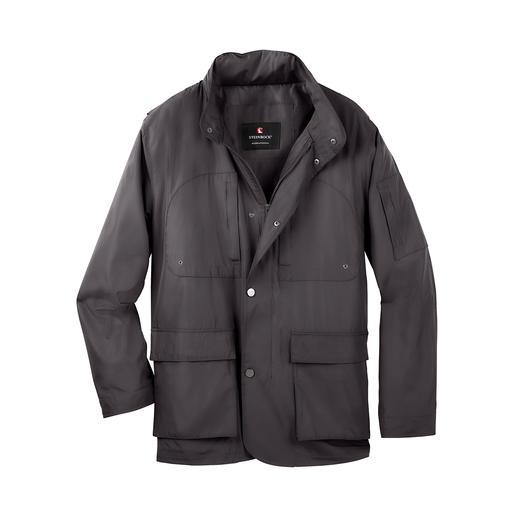 Diese wettertaugliche Funktionsjacke ist schick wie eine City-Jacke. Wasser abweisend. Winddicht. Atmungsaktiv. Und pflegeleicht.