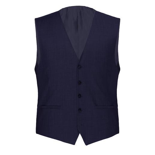 Der zeitlose dunkle Schurwoll-Anzug mit individueller Grössenwahl. Unbeschadet übersteht er mehrere Moden – und unzählige Reisen.