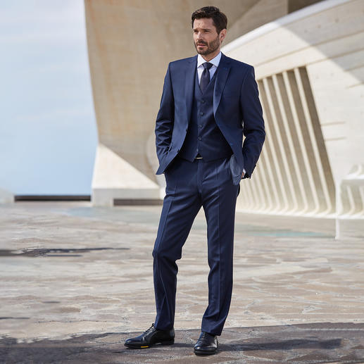 Modul-Anzugweste, -Anzughose oder -Anzug-Sakko Super-120 Der zeitlose dunkle Schurwoll-Anzug mit individueller Grössenwahl.