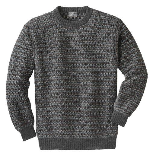 Der kostbare, traditionell auf Handstrickmaschinen gefertigte Alpaka-Pullover. Rare Strickkunst aus den Anden. Statt Massenfertigung aus Fernost.