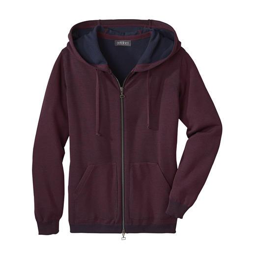 Seldom Damen-Doubleface-Strickjacke Das Verwöhnprogramm dieser Jacke: aussen feine Merino-Wolle, innen weiche GIZA-Baumwolle.